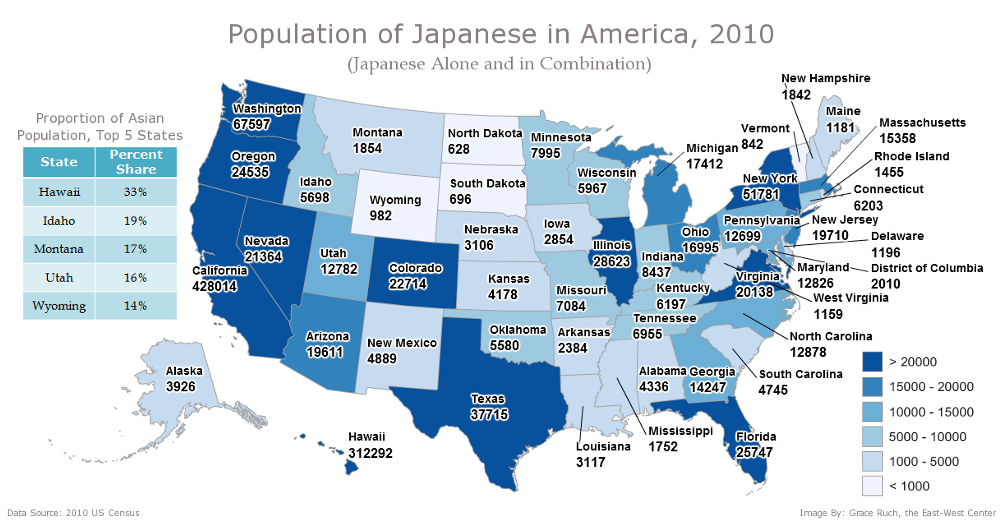 Population of Japanese in America, 2010 (Japanese Alone and in Combination). Data Source: 2010 US Census