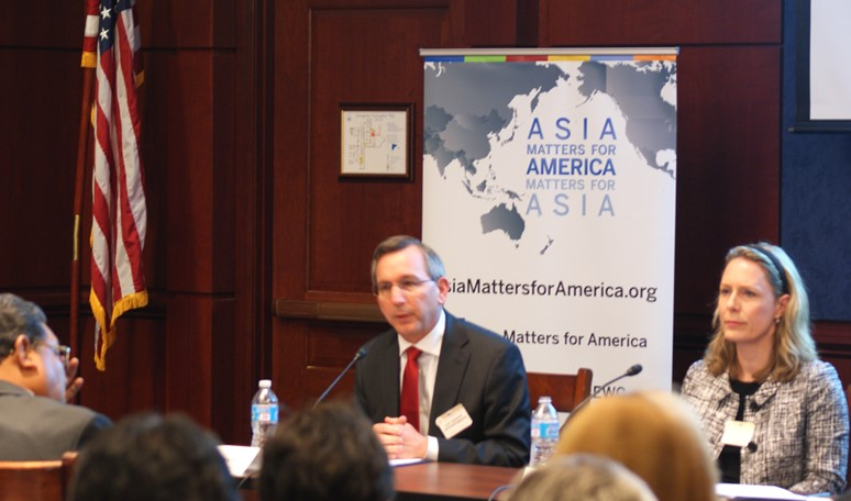 The Honorable Scot Marcial from the State Department and Meredith Miller from the National Bureau of Asian Research giving remarks at Wednesday's event. Image: Chris Feddersen/East-West Center.
