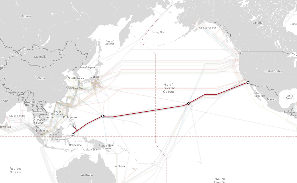 The SEA-US submarine cable will travel from Monado, Indonesia to Hermosa Beach, California, via Guam and Hawai'i. Image: PriMetrica, Inc.