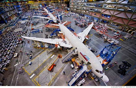 The 787s are assembled from components from across the country and the globe by Boeing in Washington and South Carolina. Photo by: Boeing