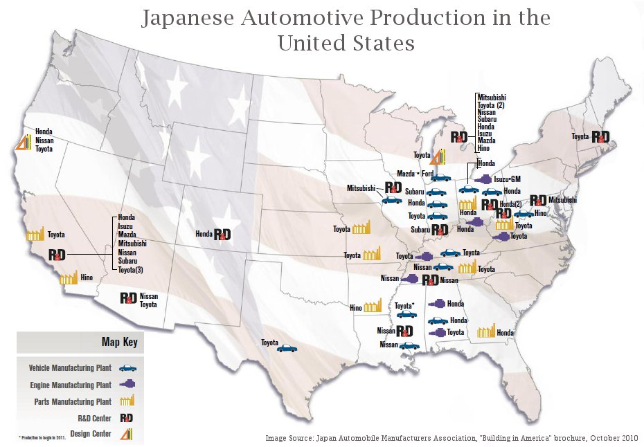 "Japanese automakers currently operate in 17 states across the country. Image Source: JAMA, ""Building in America"" (Click to expand)"