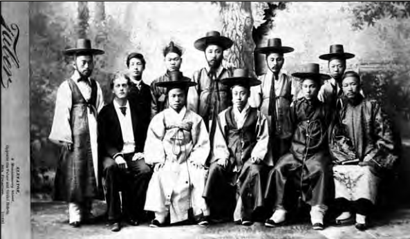 The first official Korean delegation to the United States, 1883. Yu Kil-chun is positioned in the back row, third from left. Image: The Peabody Essex Museum.