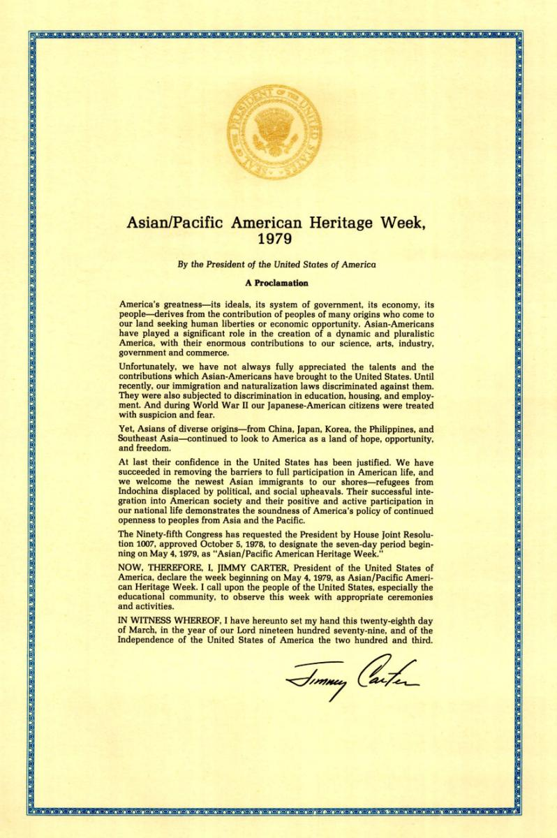 Jimmy Carter's 1979 Proclamation of Asian/Pacific American Heritage Week. Source: APIAHeritageSF.org.