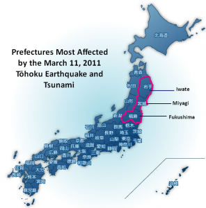 A map depicting the devastated prefectures of Iwate, Miyagi, and Fukushima - Image from http://11geinou.com edited by Grace Ruch