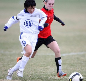 Teens from Japan and the US play together in Idaho as part of an annual soccer exchange between Meridian, Idaho's FC Nova and the Fujeida Junshin Soccer Club. Photo by: Shawn Raecke/Idaho Statesman