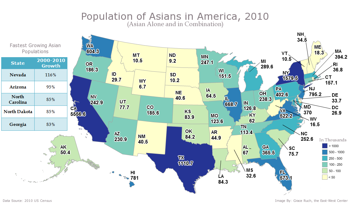 Asians In America Asian Population Fastest Growing In The US - 50 of the us population map