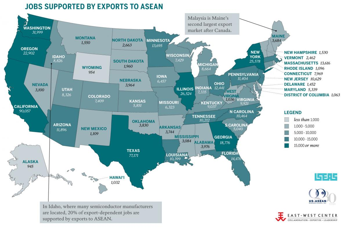 Jobs supported by exports to ASEAN, 2012.