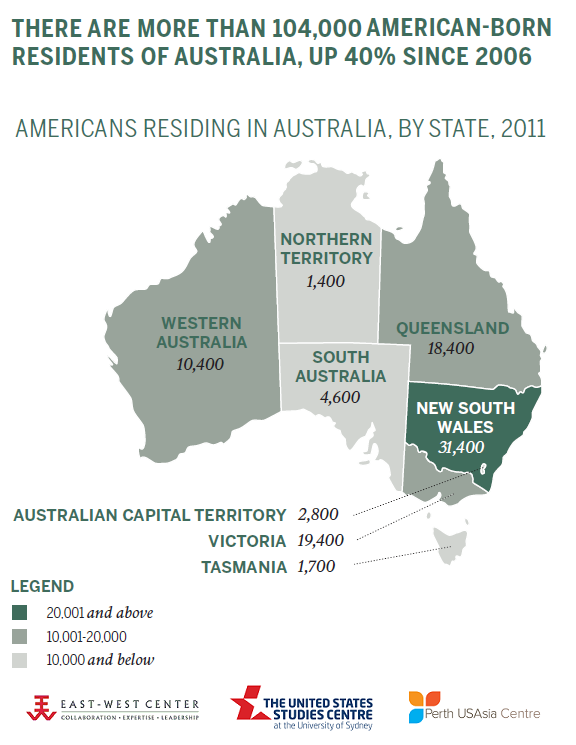 Americans Residing in Australia, by State, 2011