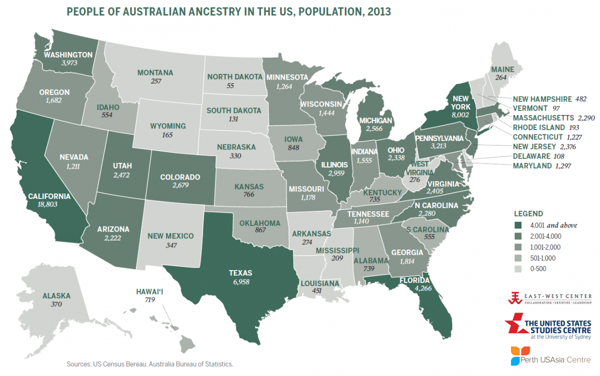 Australians In America Americans In Australia Asia Matters For - Map of us livestock population