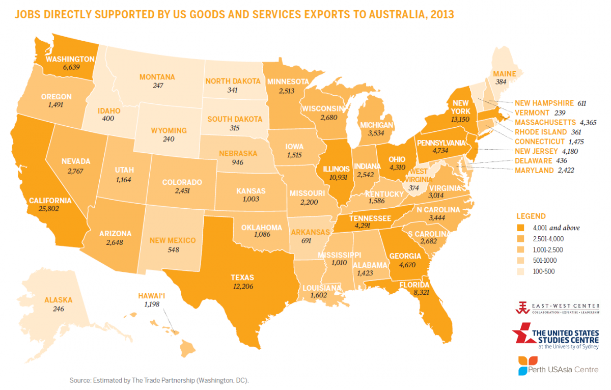 Jobs Directly Supported by US goods and Services Exports to Australia, 2013