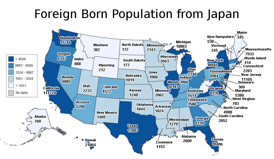 Census Counts 767000 Japanese in US 88000 Americans in Japan