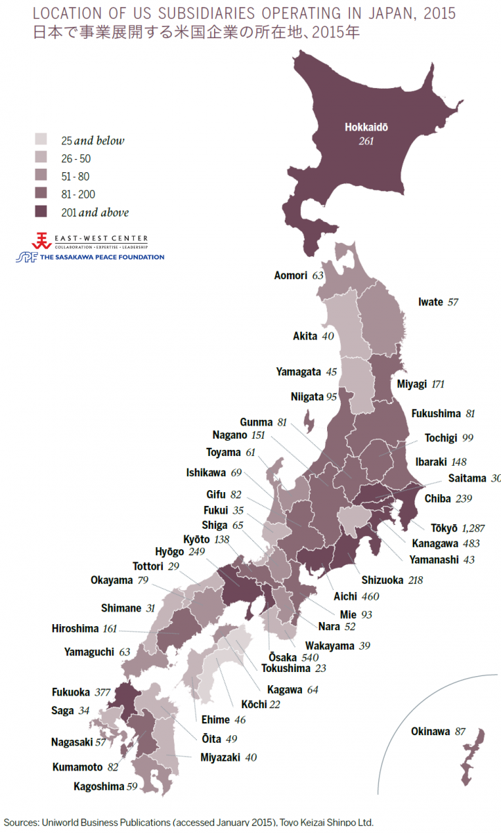 Location of US Subsidiaries Operation in Japan, 2015