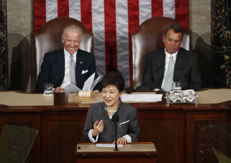 President Park addresses at a joint session of the US Congress, May 8, 2013. Image: Charles Dharapak, AP