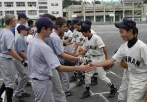 Young baseball players from Southern California meet new friends in Japan as part of the 2009 San Diego – Yokohama Youth Baseball Exchange. Photo by: Japan America Society of Southern California